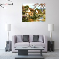 OKHOTCN Framed Bridge River Scenery Canvas Printed Oil Painting By Numbers DIY Painting Hand Painted For