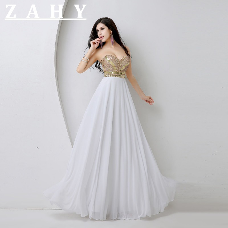 Best Ing Sweetheart Prom Dresses Beaded Gold Crystal Elegant White Evening Party Gown In Stock Vestidos De Festa From Weddings