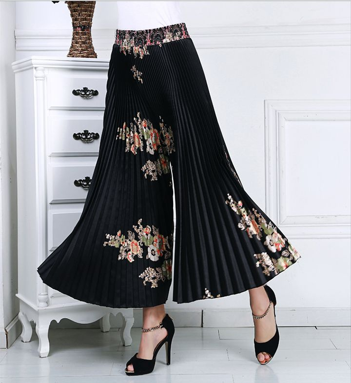 Bohemia Style Summer Pleated   Pants     Wide     Leg     Pants   Women Loose Casual   Pants   Female High Waist   Pant   Spring Trousers Split skirt