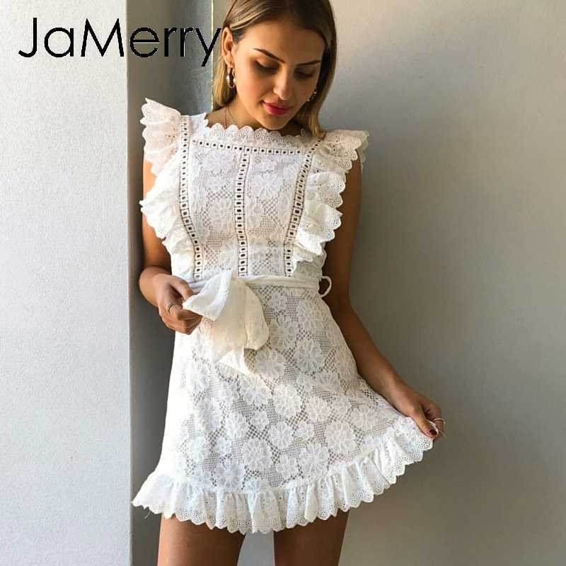 JaMerry Boho embroidery white lace women mini dress Hollow out sashes ruffled holiday summer dress Casual sexy beach dress vesti