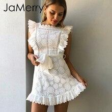 JaMerry Boho stickerei weiß spitze frauen mini kleid aushöhlen schärpen rüschen urlaub sommer kleid Casual sexy strand kleid vesti