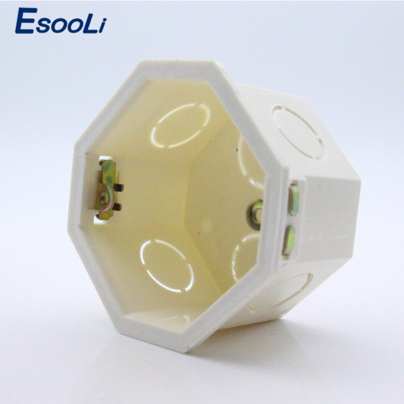 Esooli Free Choose, White Plastic Materials, 82mm*82mm EU Standard Internal Mount Box For 86mm*86mm Standard Wall Light Switch