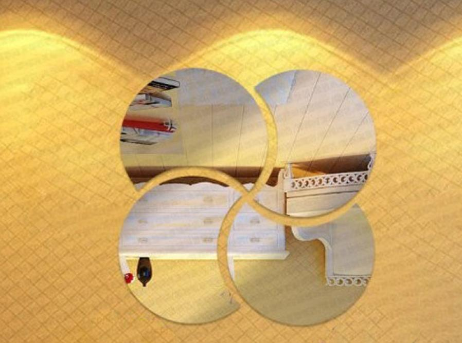 Home Decor 3D Circles Mirror Puzzle Home Decor Bell Cool Mirrors Wall Stickers wall sticker Home Deco mirror AU8