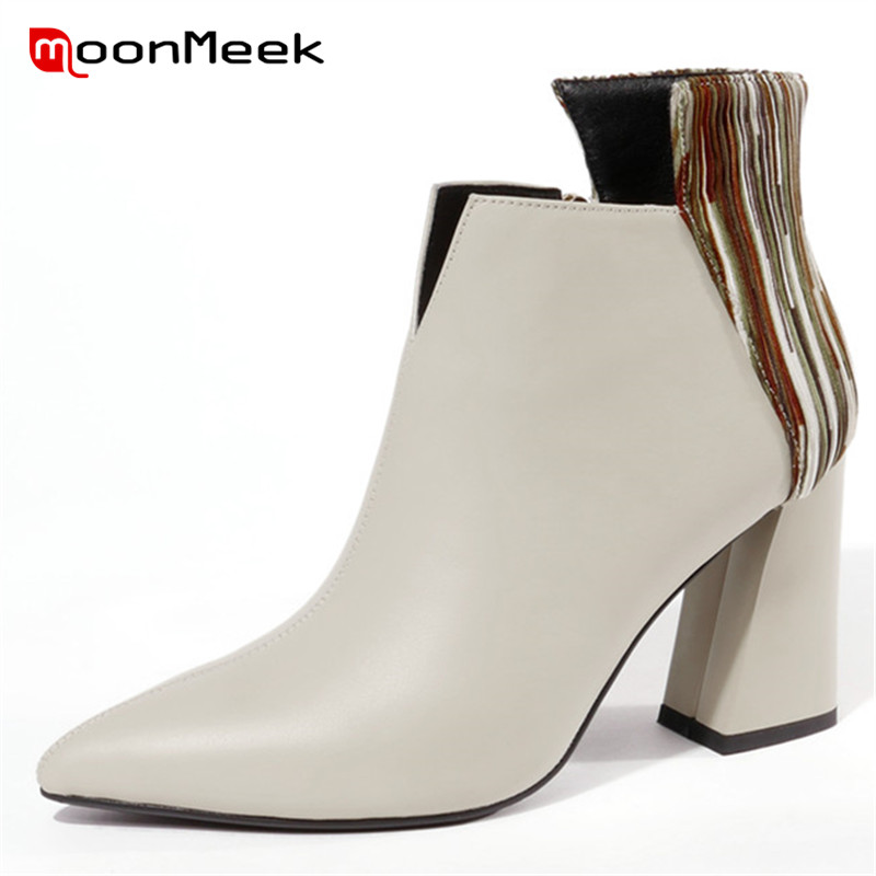 MoonMeek 2018 fashion pointed toe autumn winter ladies boots high quality ankle boots popular women genuine leather bootsMoonMeek 2018 fashion pointed toe autumn winter ladies boots high quality ankle boots popular women genuine leather boots