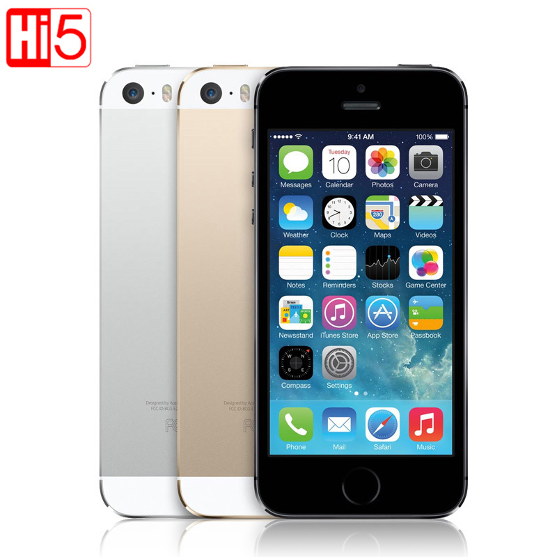 Apple iphone 5s Unlocked smartphone IOS Touch ID 4.0 ''scherm 16 gb/32 gb/64 gb ROM WiFi GPS 8MP Vingerafdruk gratis verzending