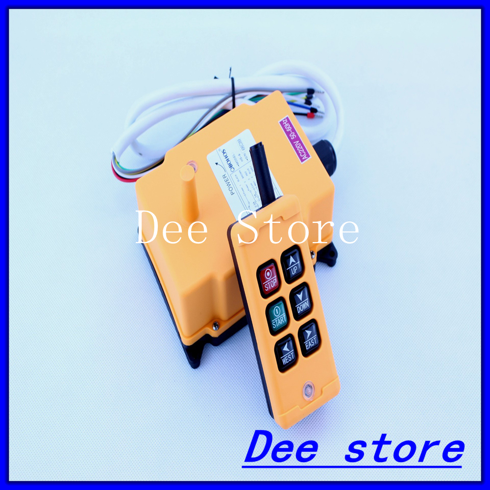 Free Shipping 6 Channels 1 Transmitter 1 Speed Control Hoist Crane Radio Remote Control Push Button Switch System 3 motion 2 speed 1 transmitter hoist crane truck radio remote control push button switch system controller