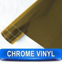 Spiegel Chrom Gold Autofarben-änderungs Vinyl Wrap Film Kostenloser Versand Großhandel 1,52*30 mt