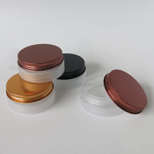 30pcs/lot 80ml Refillable Empty Frost Pet Jar with Gold Metal Cap 80cc Plastic Cosmetic Container