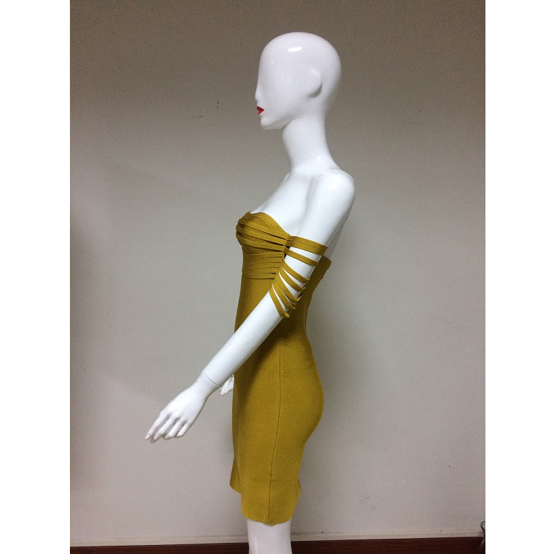 Women Off Shoulder Midi Dresses Empire Autumn Slash Neck Strapless Solid Night Club Party Wear Dresses For Ladies Drop Shipping - 5