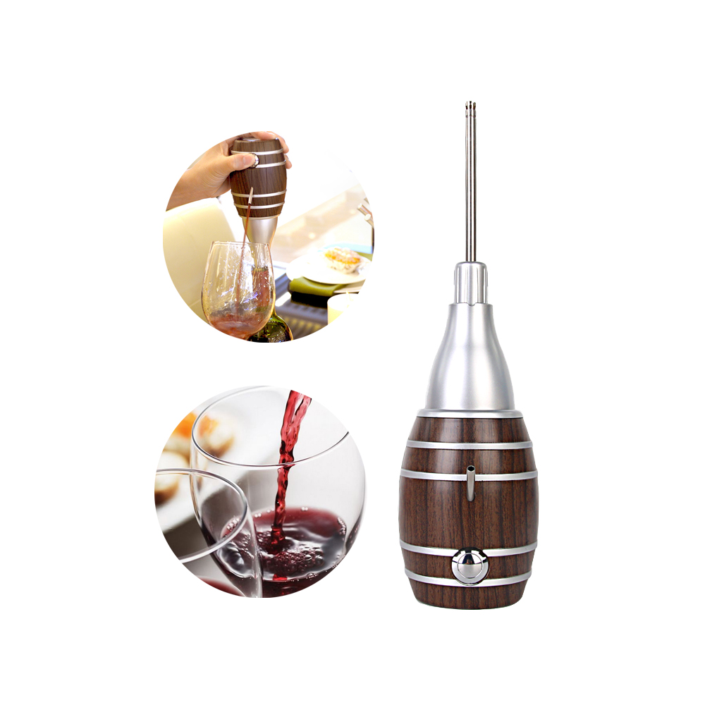 ITOP Handmade Household Red Wine Decanter Wood Decanter 6 Seconds Wine Processors With Battery