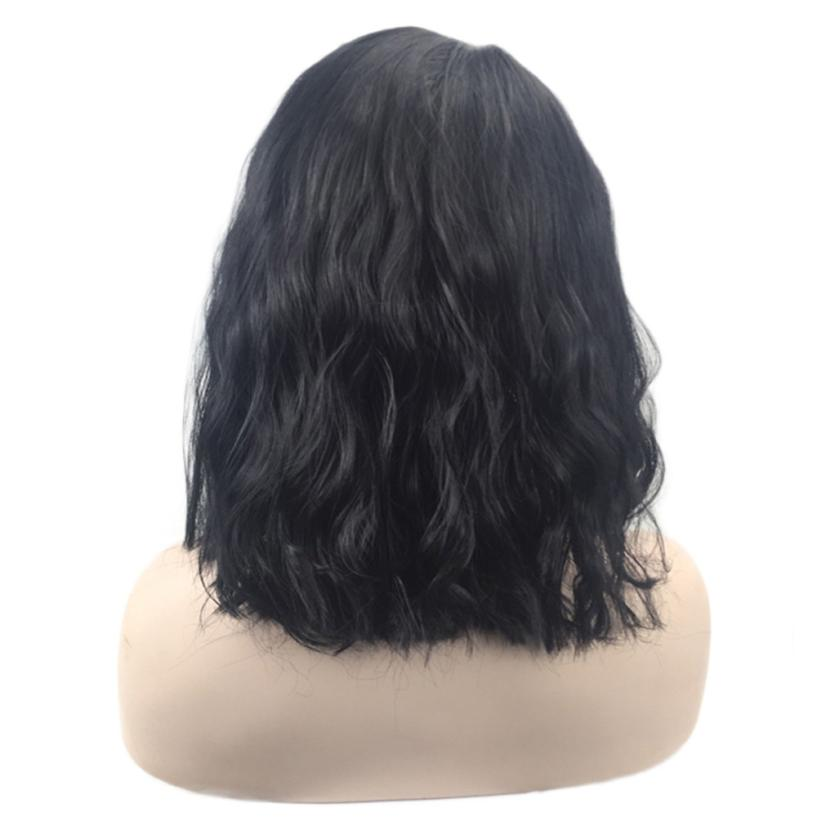 Womens Fashion Short Seamless Lace Front Wig Hairr 16 inch Brazilian Leibo Wig 0621