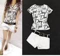 Vancol 2 Piece Set  Women 2016 Fashion T-shirt Letters Print T-Shirt Shorts Pants with Sashes Plus Size Summer Women's Suits