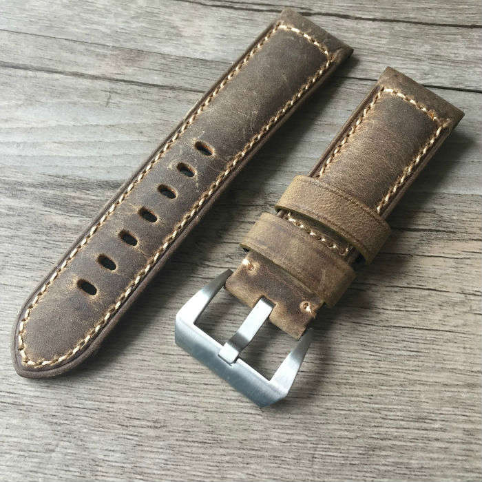 Handmade 22mm 24mm 26mm Vintage Brown Italy Calf  Leather Strap, Retro Watchband For Pam And Big Watch,Free shipping handmade 22mm 22mm vintage brown black ostrich skin leather strap retro watchband for kelpy pilot watch