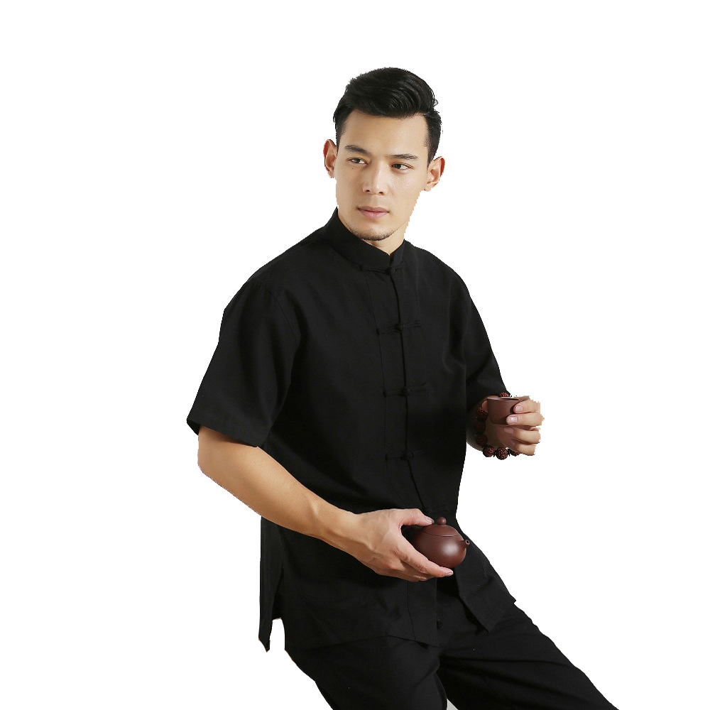 Men's 100% Cotton Short Sleeve Tang Suit Top Male Kung Fu Tai Chi Uniform Shirt Blouse Traditional Chinese Clothings Plus 4XL