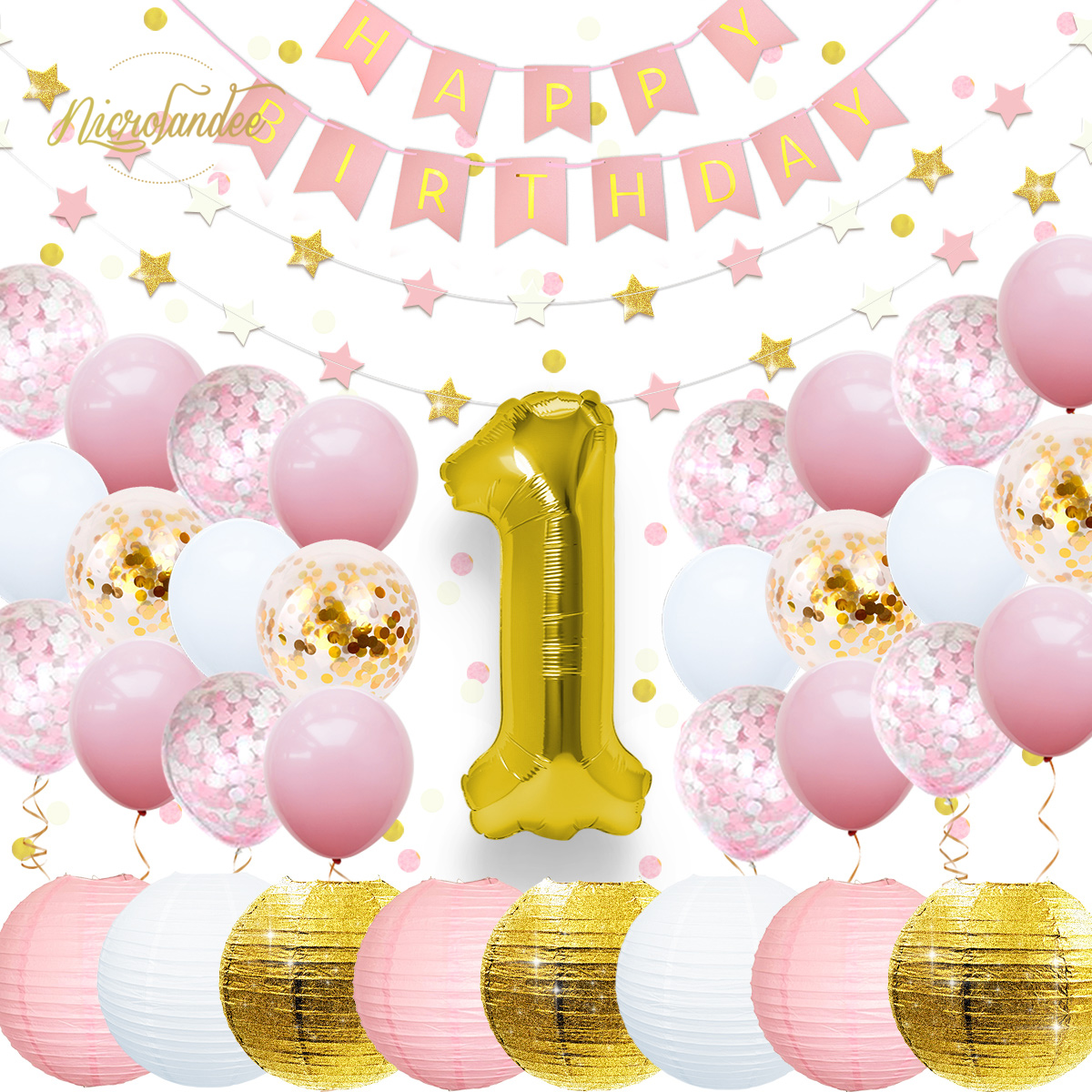 NICROLANDEE 37 pçs/set 1st Decorações Da Festa de Aniversário Da Menina do Menino Do Bebê Balão Da Folha Bandeira Guirlanda de Papel Confetti Set Casa