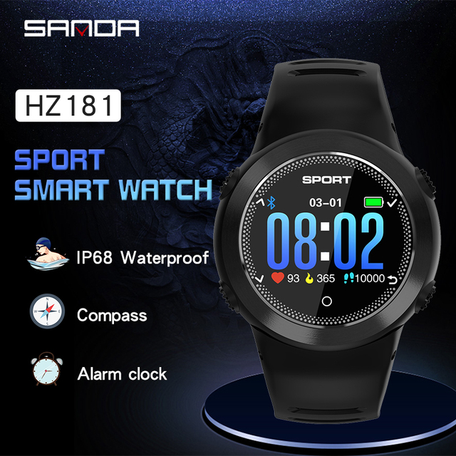 SANDA Sports Smart Watch Men IP68 Waterproof Heart Rate Monitor Blood Pressure Fitness Bracelet Male Smartwatch For IOS Android