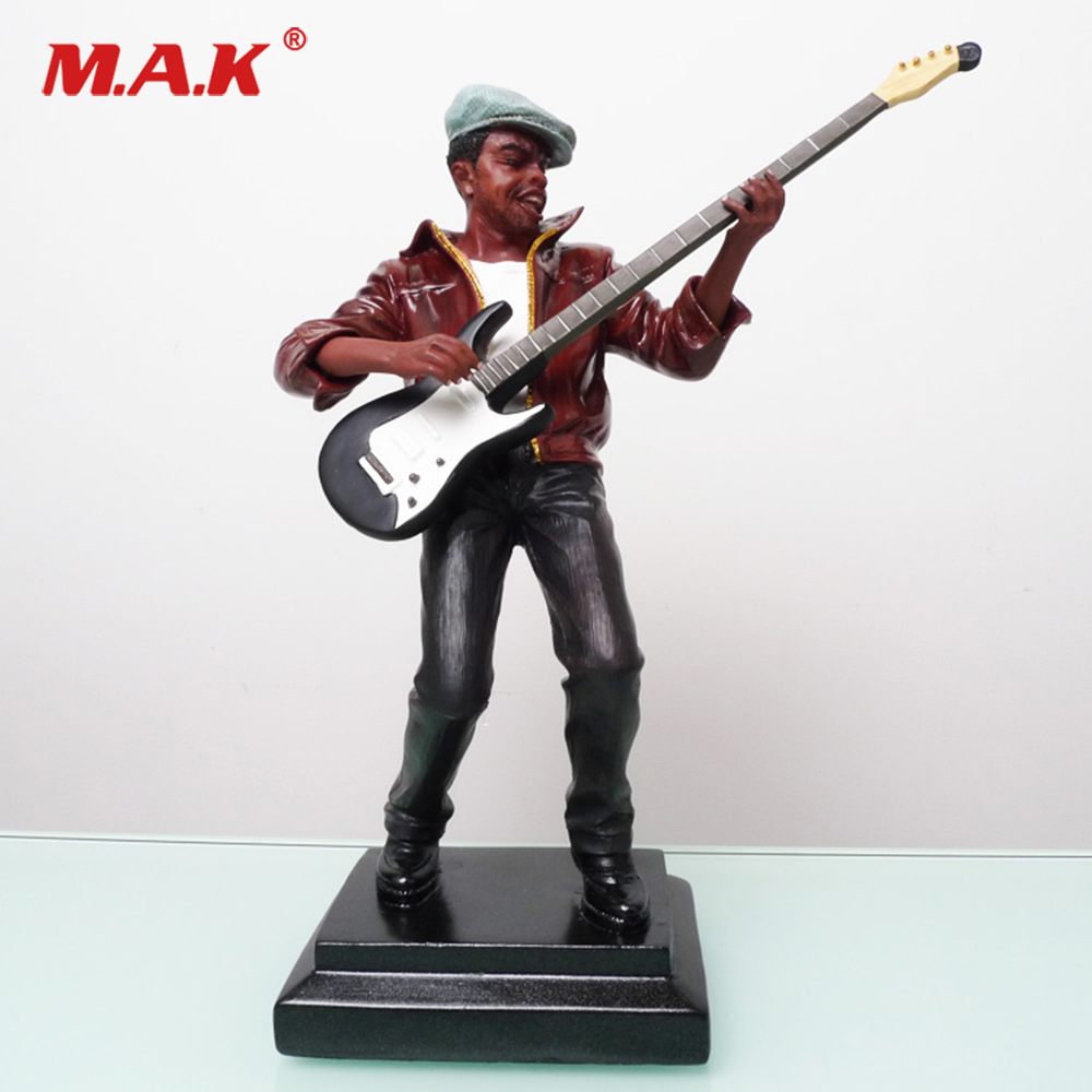 27.5cm Figure Model Black Guitar Music Character Sculpture for Collection Gift