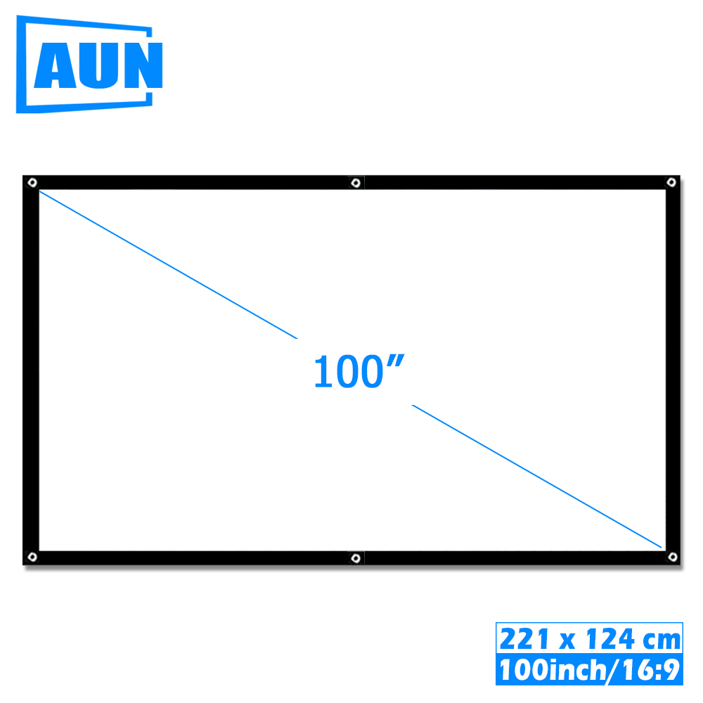 AUN 100 zoll 16:9 Tragbare Projektor Bildschirm Weiß tuch material Outdoor typ unterstützung T90s AM01s LED Projektor heimkino B 100