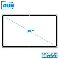 AUN 100 дюймов 16:9 Портативный экран для проектора белая ткань материал открытый тип поддержки C80 F30 M18 светодиодный проектор для домашнего кино...