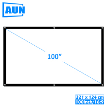 AUN 100 inch 16:9 Portable Projector Screen White cloth material Outdoor type support C80 F30 M18 LED Projector Home theater, P