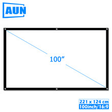 AUN 100 inch 16:9 Portable Projector Screen White cloth material Outdoor type support C80 F30 M18 LED Projector Home theater(China)