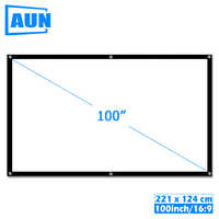AUN 100 inch 16:9 Portable Projector Screen White cloth material Outdoor type support C80 F30 M18 LED Projector Home theater
