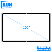 Aon 100 дюймов 16:9 Портативный проектор экран белая ткань Материал наружный Тип Поддержка C80 F30 M18 светодиодный проектор домашний кинотеатр