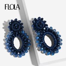 FLOLA 2019 Navy Blue Beaded Dangle Earring for Woman Handmade Crystal Trendy Boho Jewelry Oorbellen aretes ersp64