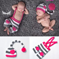 Corazón del bebé del ganchillo sombrero y pantalones set crochet clothing set bebé a casa de los gemelos recién nacidos trajes con amor corazón mzs-16031