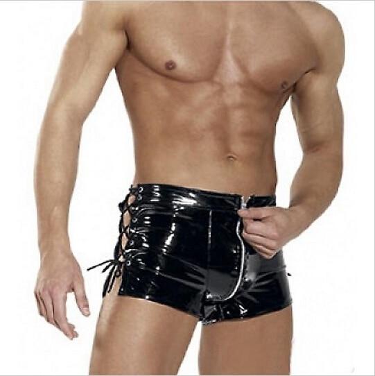 L XXL Patent Leather Latex Wetlook Sexy Gays Boxer Shorts Men Tight Briefs Black Male Bikini Costume Sexy Panties Sex Lingerie