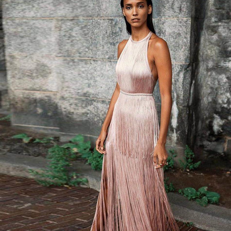 2019 Summer Women Dress Club Bandage Dresses Celebrity Tassel Bodycon Autumn Evening Party Sexy Sleeveless Clothes
