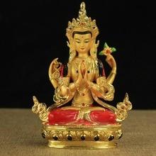 Avalokitesvara Statue Tibetan Tantric Small Gilded Statues of  Bodhisattva 14cm High Holy Apsicious Home/temple Decoration