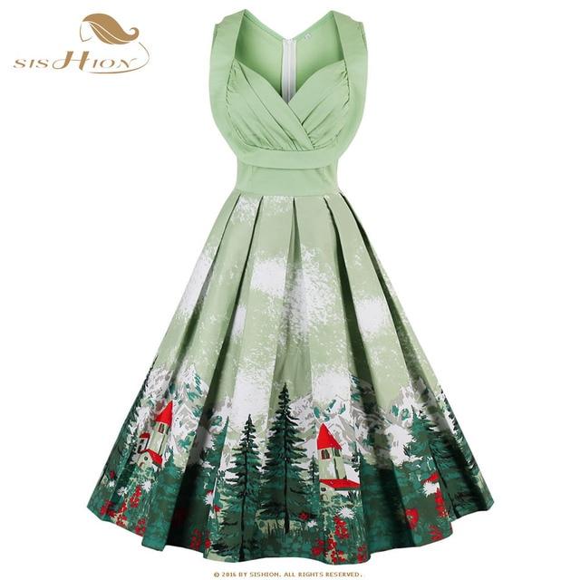 ae8cb3c1f50c SISHION Christmas Dress Women Green Blue Winter Snow Landscape Print Plus  Size Club Party Retro Rockabilly Vintage Dress VD0631