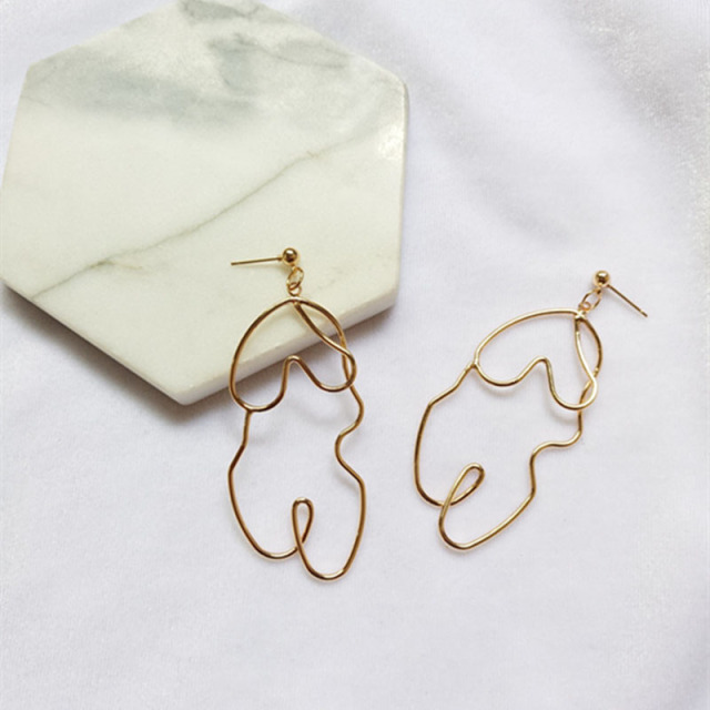 Fashion Gold Silver Wire Shaped Dangle Earrings Women Jewelry Abstract Face Distortion Body Shape