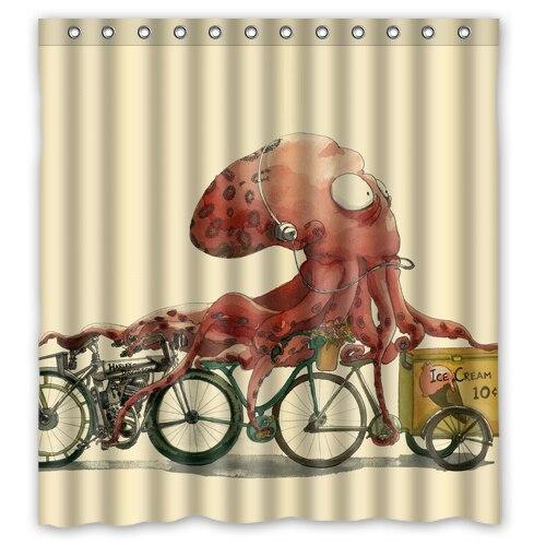 Vintage Octopus icecream custom Shower Curtain fashion Bathroom decor Free Shipping 36x72 48x72 60x72 66x72