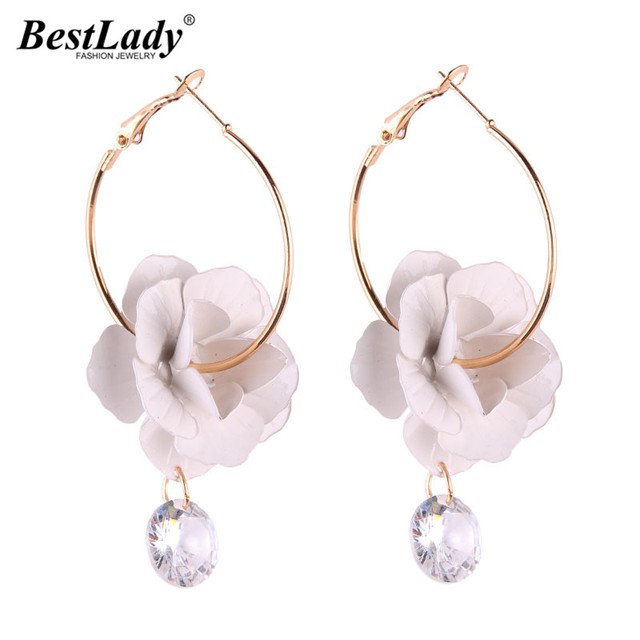 Best Lady Korean Fashion Flowers Statement Earrings Las Bohemian Drop Dangle Earring For Women Wedding Jewelry