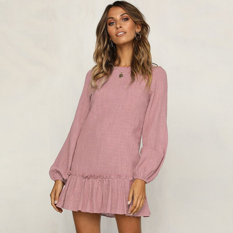 Cross-Border 2019 Fast-Selling <font><b>eBay</b></font> Amazon Autumn European and American New Women's Long-sleeved Pleated Loose Dresses image