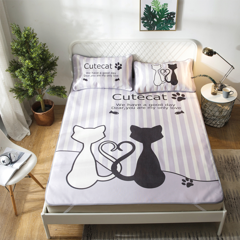 Cute Cats Couple Summer Cool Mat Kit Bed Protection Pad Polyester Fabric 2/3Pcs Pillow Cases Twin Full Queen Mattress Pad
