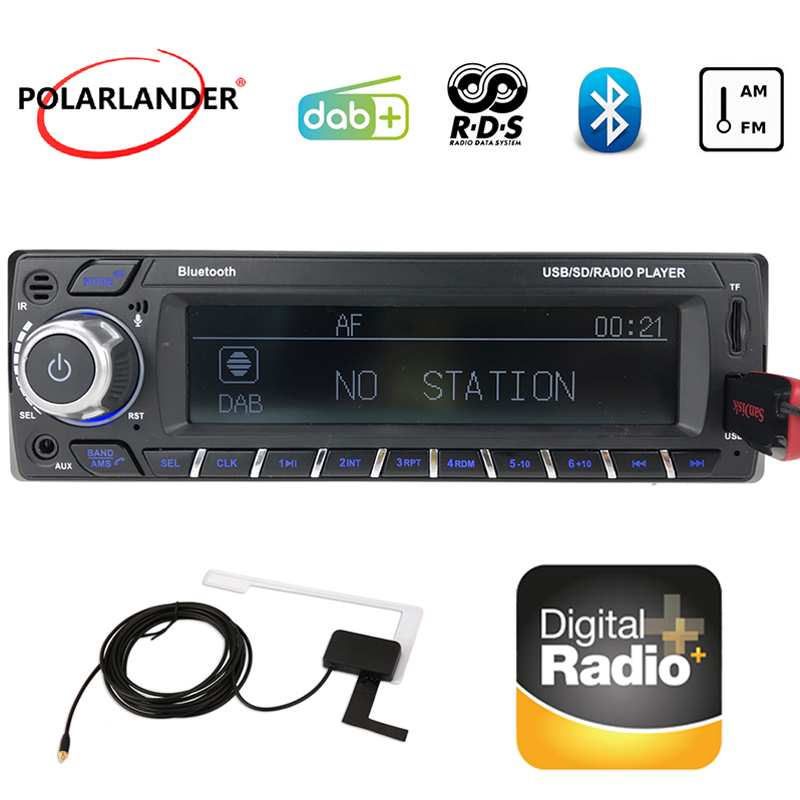 1089DAB+1 Din Car Radio RDS Hands-Free MP3/SD/MMC DAB+ FM USB SD LCD Screen Digital Audio Broadcast Car Bluetooth Card Machine S image