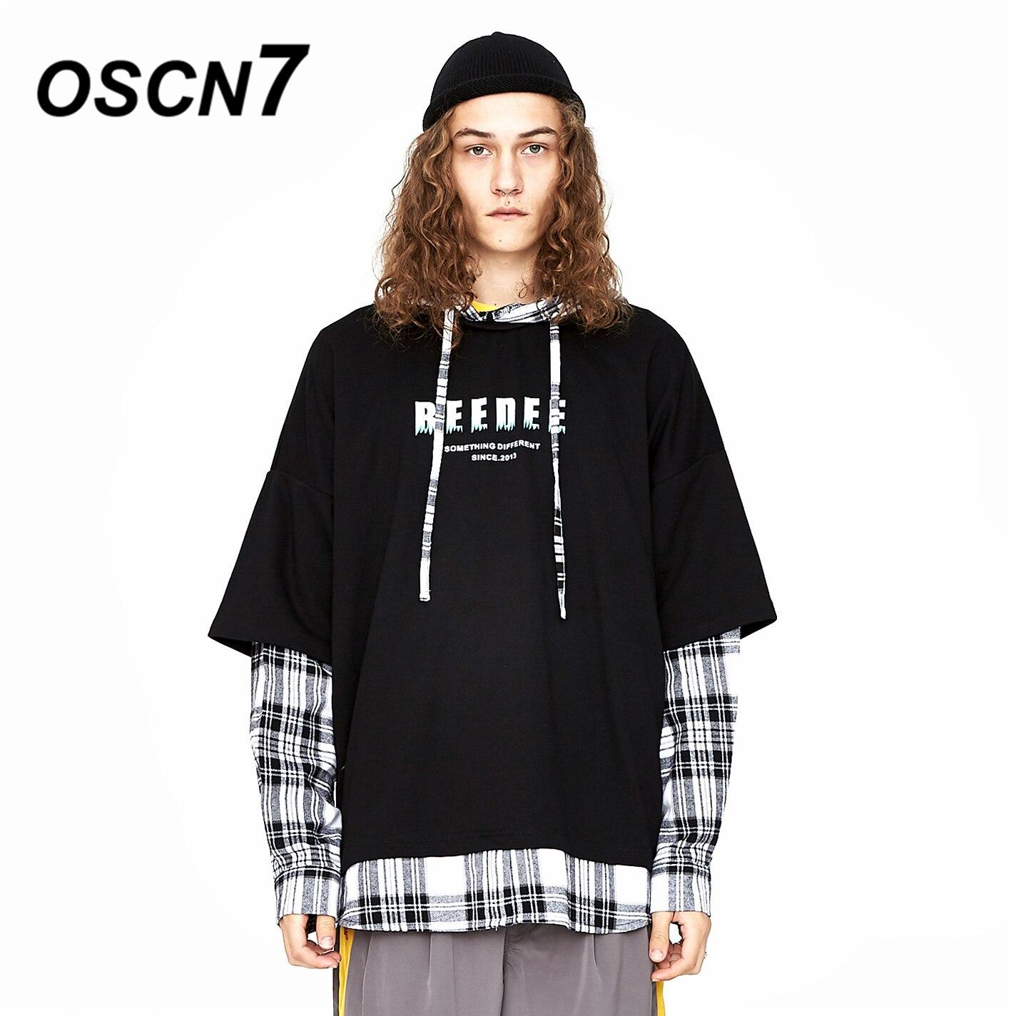 OSCN7 Streetwear Faux Deux-pièce Retour À Capuche Plaid Pull Sweat Hommes 2019 Japonais Harajuku Casual Hoodies Hommes W196