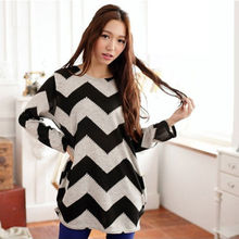 Hirigin Lady Women Plus Size Long Sleeve O-Neck Pullover Loose Baggy Casual Top Long Striped Sweaters