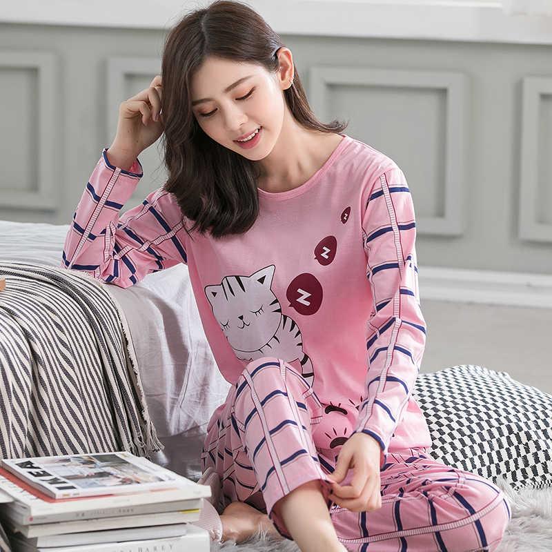 ... Бренд весна осень с длинным рукавом хлопок женские пижамы комплект  мультфильм ошибки пижамы для девочек Mujer e33abfdbc8e97