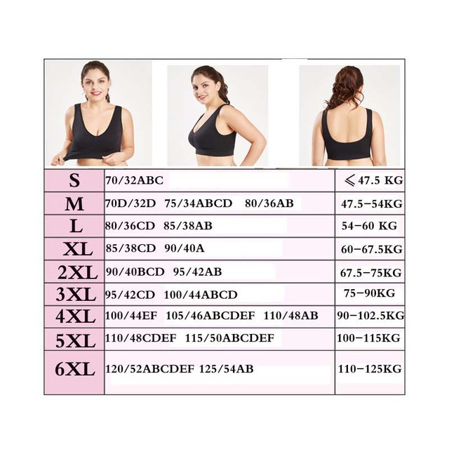 Plus Size Seamless Bras With Pads For Women Big Size 5XL 6XL Bralette Push Up Brassiere  Vest Wireless 1