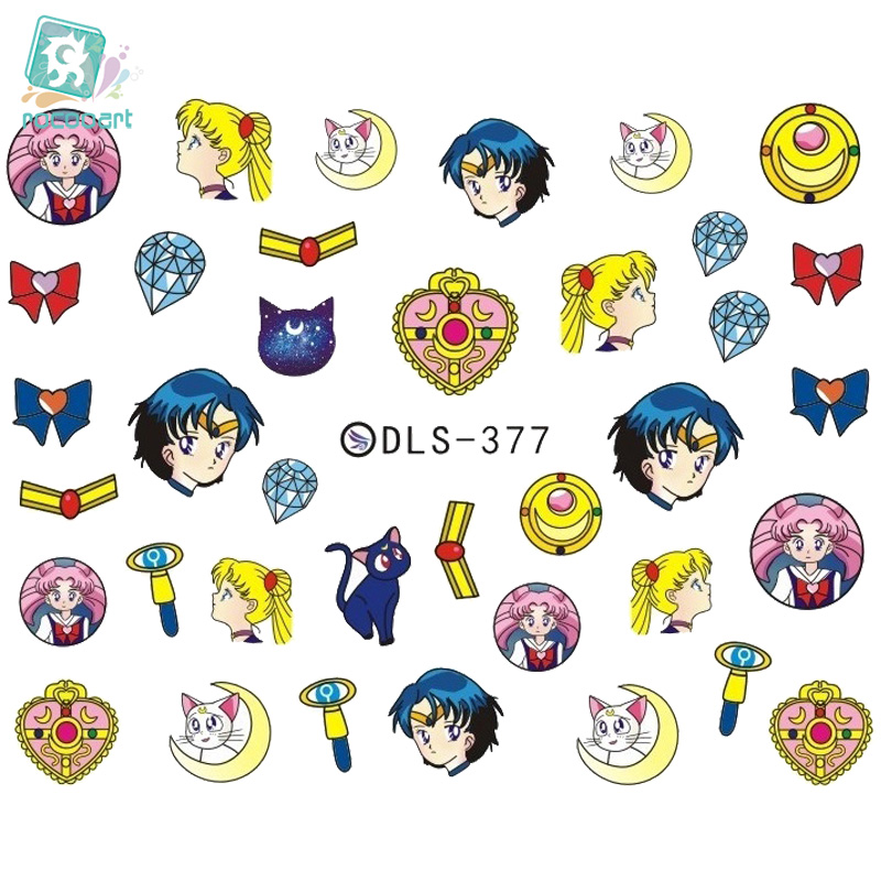 DLS377-382 DIY Water Transfer Foils Nail Art Sticker Fashion Nails Cartoon Harajuku Sailor moon Decals Minx Decorations