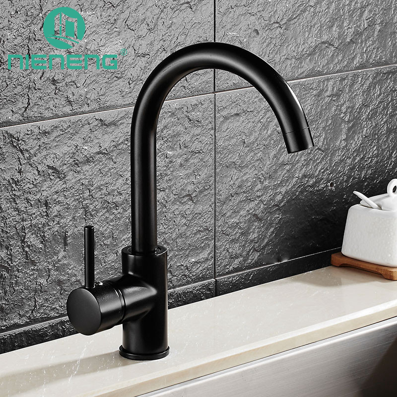 Nieneng Kitchen Sink Black Water Faucet 360 Degree Rotating Faucets Deck Mounted Kitchen Mixer Taps Griferia Lanos Tap ICD60369 newly arrived pull out kitchen faucet gold sink mixer tap 360 degree rotation torneira cozinha mixer taps kitchen tap