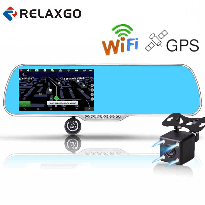 Relaxgo 5 Car DVR GPS Navigation Wifi Android Full HD 1080P Car Camera Dual Lens Parking Rearview Mirror Camera Video Recorder kkmoon 7 car dvr 3g wifi rearview mirror dual lens recorder camera full hd 1080p dash cam android 5 0 gps registrar navigation