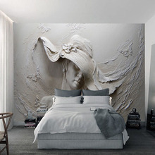 Embossed Gray Beauty Oil Paintingt Wall Mural
