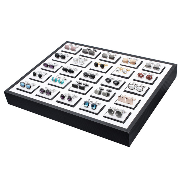 High Quality Cufflinks Tie Clips Set Jewelry Display Box Plastic for Commercial and Personal