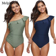 One Piece Swimsuit Plus Size Bathing Suits Push Up Shoulder Women Monokini Green Ruffle Swimwear Maillot De Bain