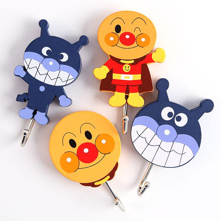 4 pcs/lot Anpanman figure hook classic Japan anime baikinman cute strong stick hooks to wall free shipping